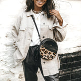 Personalised Round Leather Leopard Print Bag (4289318125702)