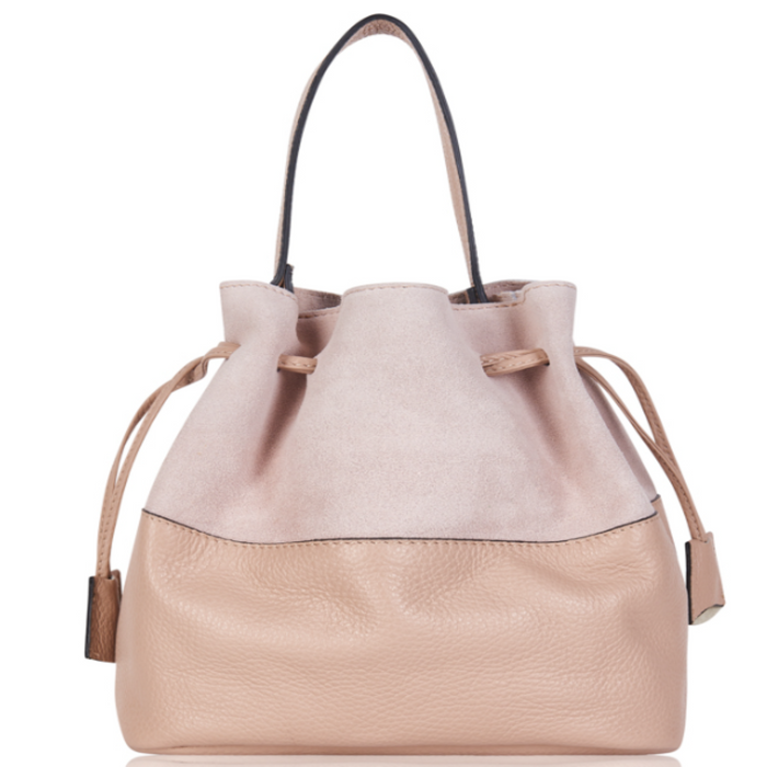 Personalised Leather and Suede Bucket Bag (4425912516742)