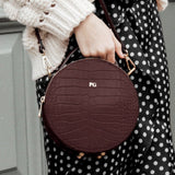 Personalised Croc Leather Round Circle Bag