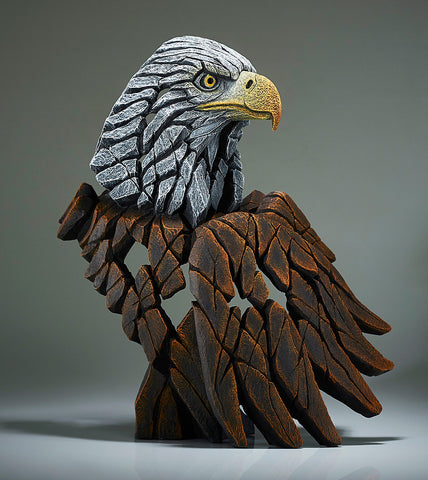 Edge Sculpture American Bald Eagle - A bust of the top half of the american bald eagle, the distinctive white head and yellow beak of the american bald eagle, and the brown feathers, piercing watchful eyes, brought together to create another magnificent sculpture from Edge