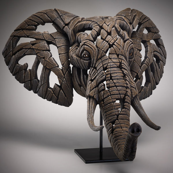 Edge Sculpture African Elephant Bust by Matt Buckley - including Wall Bracket