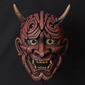 Edge Sculpture Hannya  Mask - Antique Red by Matt Buckley PreOrder for Feb 2021 Delivery