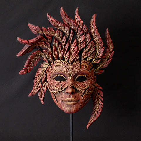 Edge Sculpture Venetian Carnival Mask - Red and Gold