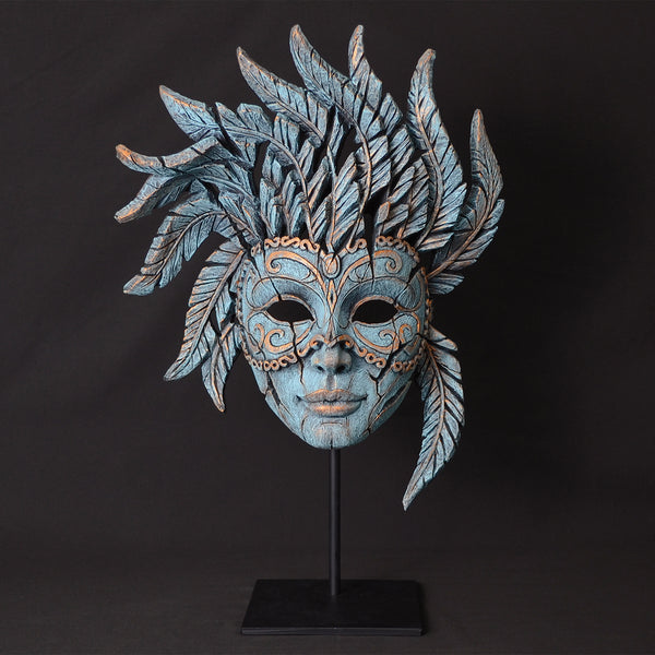 Edge Sculpture Venetian Carnival Mask - Teal by Matt Buckley