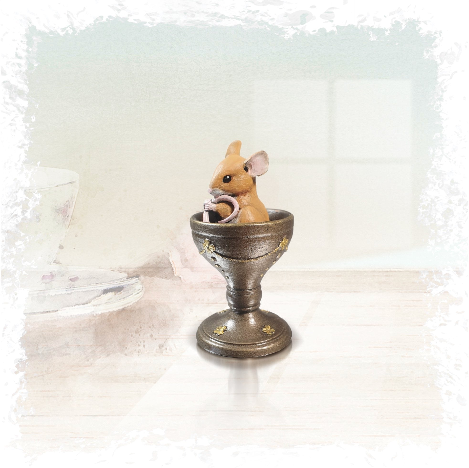 Richard Cooper Studio Cold Cast & Hand Painted Bronze Egg Cup by Michael Simpson