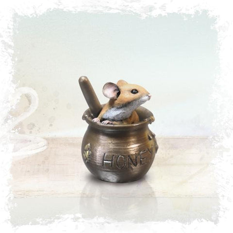 Richard Cooper Studio Cold Cast & Hand Painted Bronze Mouse in Honeypot by Michael Simpson