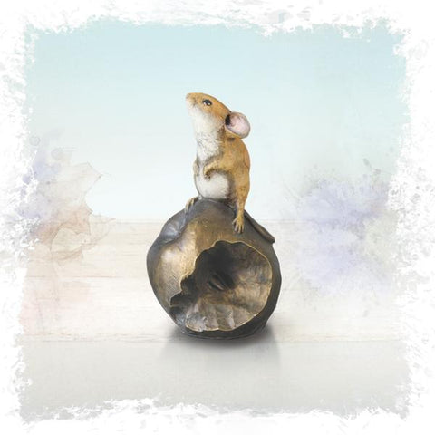 Richard Cooper Studio Cold Cast & Hand Painted An Apple a Day - Bronze Mouse on Apple by Michael Simpson