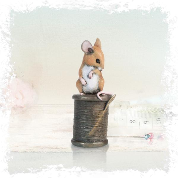 Richard Cooper Studio Cold Cast & Hand Painted Bronze Mouse with Cotton Reel by Michael Simpson