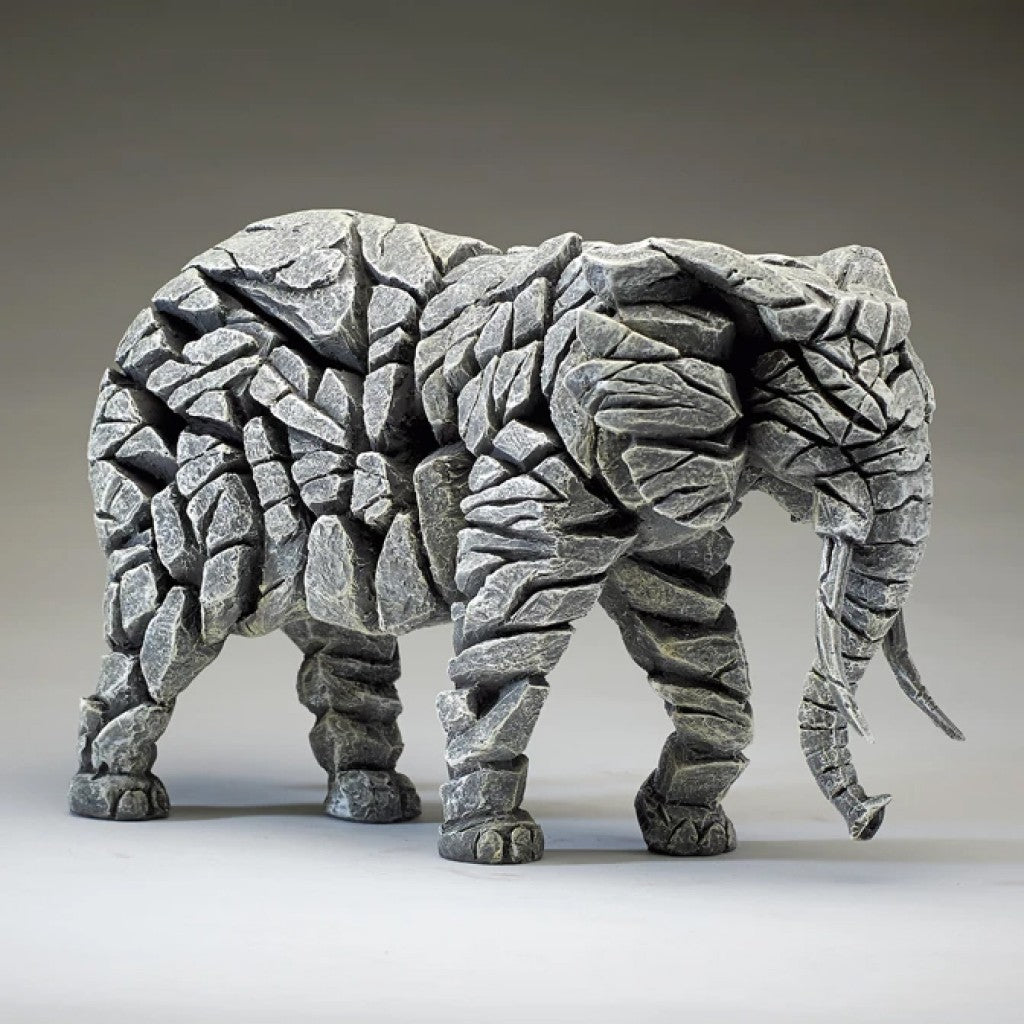 Edge Sculpture Elephant - White by Matt Buckley
