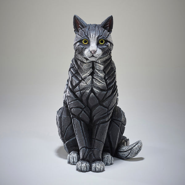 Edge Sculpture Cat Sitting - Black and White by Matt Buckley