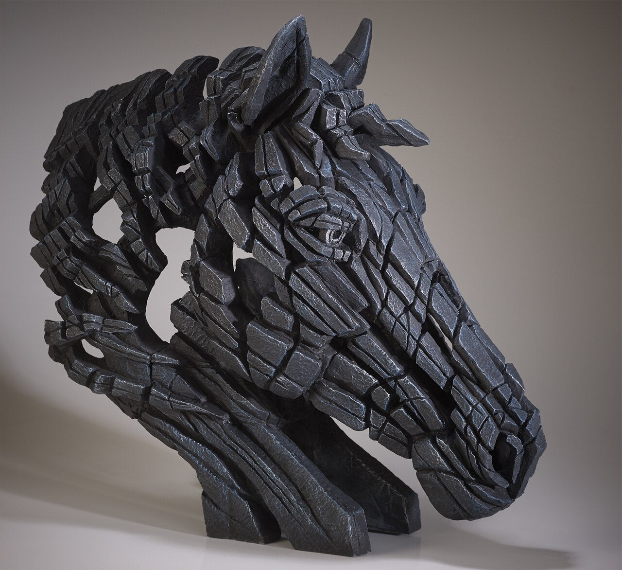 Edge Sculpture Horse Bust - Black