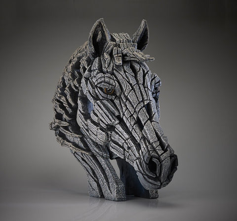 Edge Sculpture Horse Bust - White