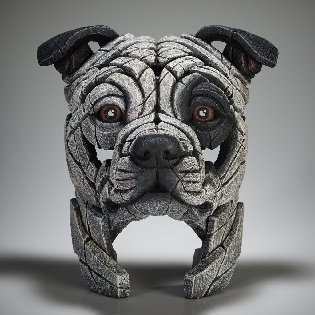 Edge Sculpture Staffordshire Bull Terrier - White with Black Patch by Matt Buckley