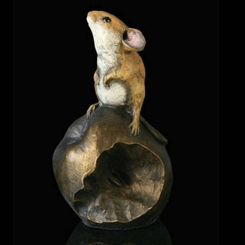 Richard Cooper Studio Cold Cast & Hand Painted Bronze Mouse on Apple by Michael Simpson
