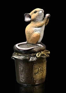 Richard Cooper Studio Cold Cast & Hand Painted Bronze Mouse on Jam Jar by Michael Simpson