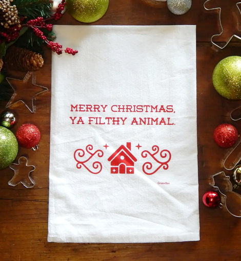 Merry Christmas Ya Filthy Animal Tea Towel