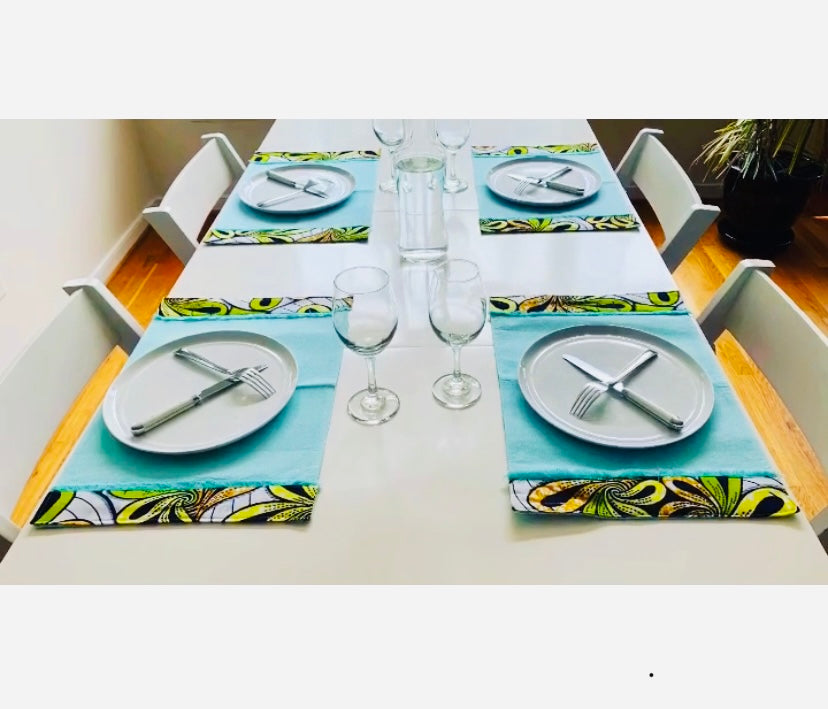Kasai Runner and Placemats Set - African Inspired Home Decor