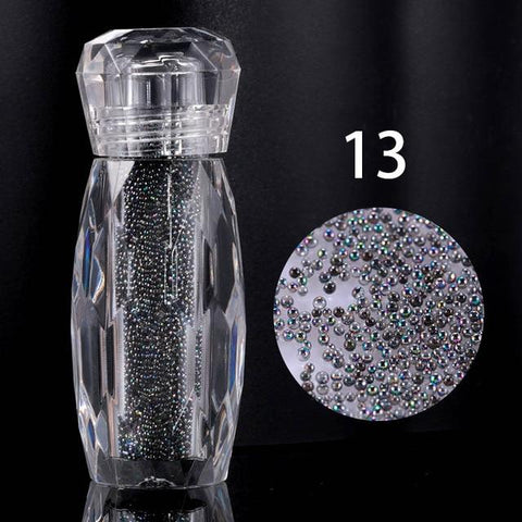 1 Bottle Crystal Pixie Gravel Colorful Multicolor Micro Strass Nail Art Glass Caviar Beads For Nails 3D Decorations