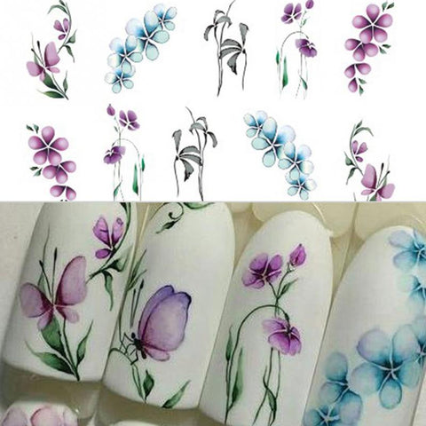 1 Sheet Flowers Leaves 3D Nail Art Water Transfer Stickers Nail Design Marble Moon Nail Accessories for Nails Decorations #130