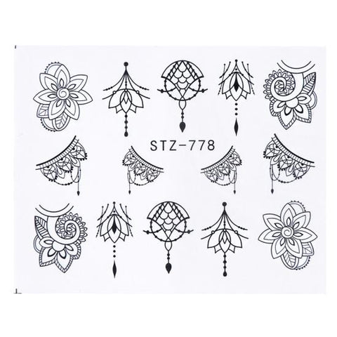 1 Sheets Black Vine New Beauty Nail Art Water Transfer Sticker Tips Watermark Temporary Tattoos DIY Nail Decals TRSTZ655