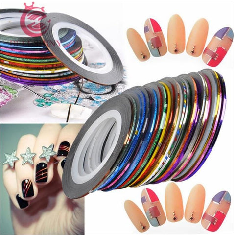 10 Rolls Mixed Color Nail Striping Tape Decal For DIY 3D Variety Nail Art Tips Decorations Nail Line Foil nail Sticker