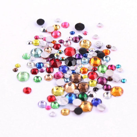 """1000pcs 2,3,4,5mm Resin Rhinestone Mix Color And Size Round Flatback Glue On Stones For DIY Nail Art"""