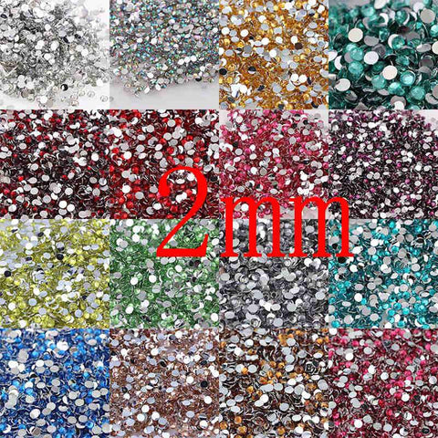 1000pcs 2mm 25 Colors Round Resin Flatback Rhinestones For DIY Nail Art Jewelry Decorations