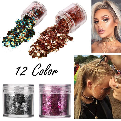 12 Colors body glitter powder Shimmer Loose Sequins Powder Face Body Glitter Paillette Nail Art Decor Makeup 5g 2U0130