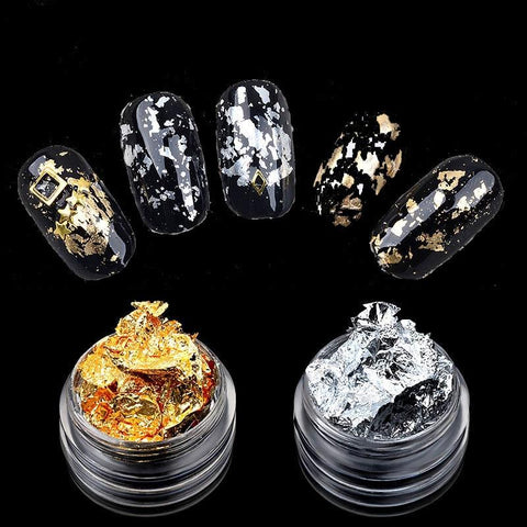 1Box Gold Silver Nail Art Foil Sequins 3D Tips Sticker Glitters Manicure UV Gel Polish Nails Decoration Accessories New Supply