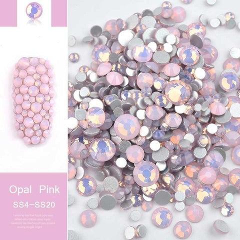 1pack Mixed Size (SS4-SS20) Crystal Colorful Opal Nail Art Rhinestone Decorations Glitter Gems 3D Manicure Books Accessory Tools