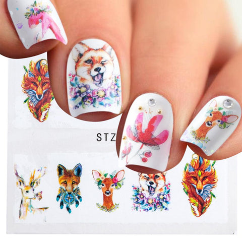 1sheet Fox Flamingo Cute 3d Designs Hot Flowers DIY Watermark Tips Nail Art Stickers Nail Decals Manicure Styling Tools LASTZ659