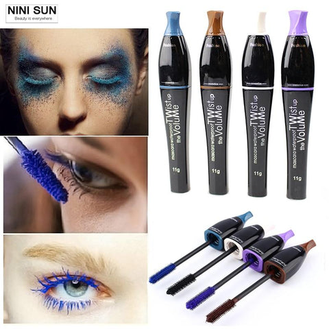 2016 New 4 Color Mascara 3d Eyes Makeup Lengthen Rimel Mascara Maquillage Blue/ Black/Brown/Purple Waterproof and Easy Remove