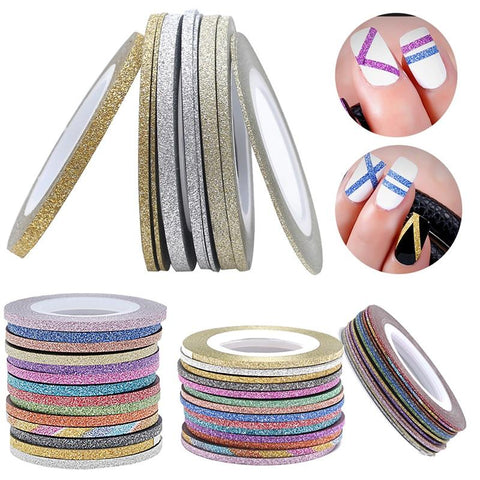 2018 Charms 1 Roll 1mm/2mm/3mm Laser Glitter Striping Tape Line Nail Art Decoration Beauty Nail Accessories for DIY