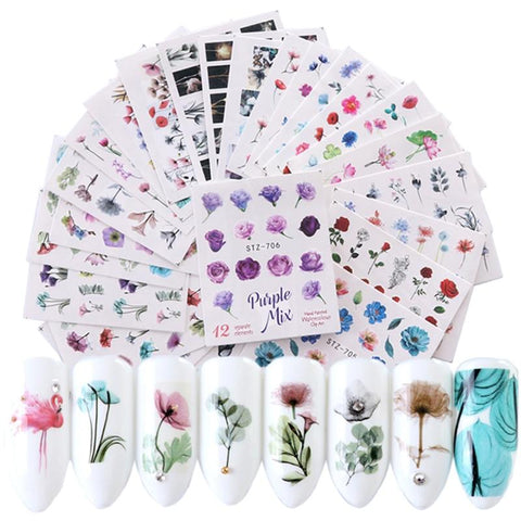 24 Sheets/sets Nail Water Sticker Flower Flamingo Beauty Slider Bloom Colorful Plant Pattern 3D Manicure Sticker TRSTZ683-706
