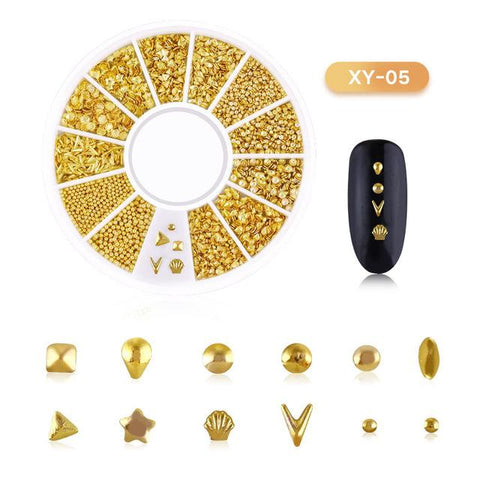 3D Hollow Nail Art Decoration Metal Mixed Shapes GeometryGolden  Tips DIY Nail Art Tools Fashion Nail Decorating Stickers
