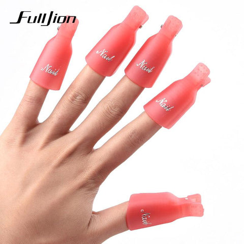 5PCS/SET Nail Art Plastic Gel Nail Polish Remover Soak Off Cap Clip UV Gel Polish Wrap Tool fluid for removal of varnish Cleaner