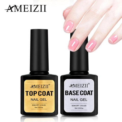 AMEIZII Top Base Coat Soak Off Gel Nail Polish UV LED Nail Primer Builder Fingernail Gel Varnish Transparent Nail Art Lacquer