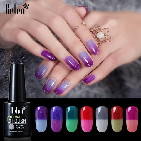Belen 10ML Thermo Color Change Nail  Polish Profeesional Lucky Varnishes Semi Permanent Lacquer Nail Art Hybrid GelLak