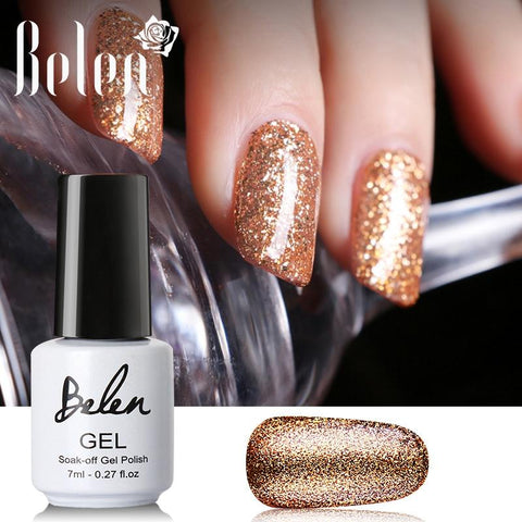 Belen 7ml Black White Nail UV Gel Polish Bling Glitter Platinum Lucky Gel Varnish Semi Permanent Enamel Hybrid Gellak Lacquer