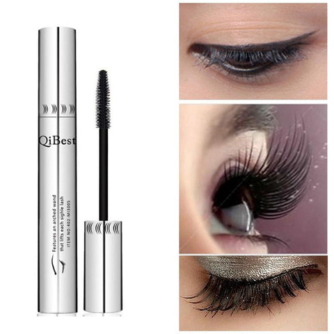 Channy Bushy Mascara Waterproof Non-Smudge Silicone Brush 3d Colossal Black Mascara Fibre Eye Makeup Silver Tube no package