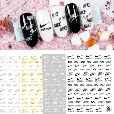 DIY Gold And Silver Brand Logo 3D Nail Sticker Self-adhesive DIY Sticker Decals Tips Sport Logo Manicure Nail Art Decals