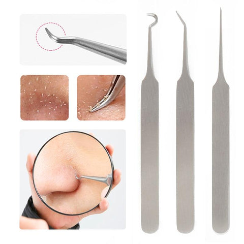 ELECOOL 3/1pcs Blackhead Extractor Tweezers Blackhead Blemish Remover Tool Point Bend Gib Head Comedone Acne Remove Nippers