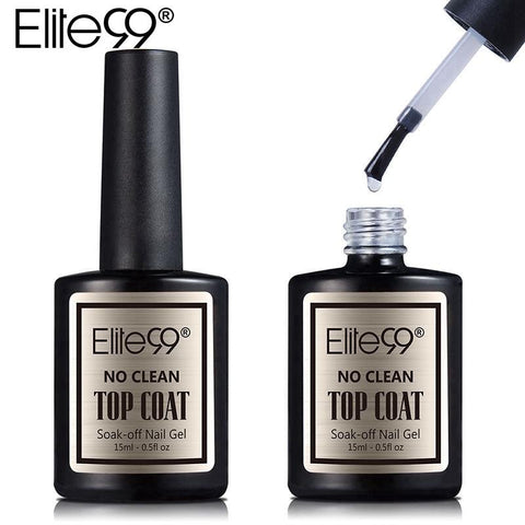 Elite99 15ml Long Time Shinning Soak off Gel Nail Polish No Wiping Top Coat Big Max Range No Sticky Layer Non-cleansing Topcoat