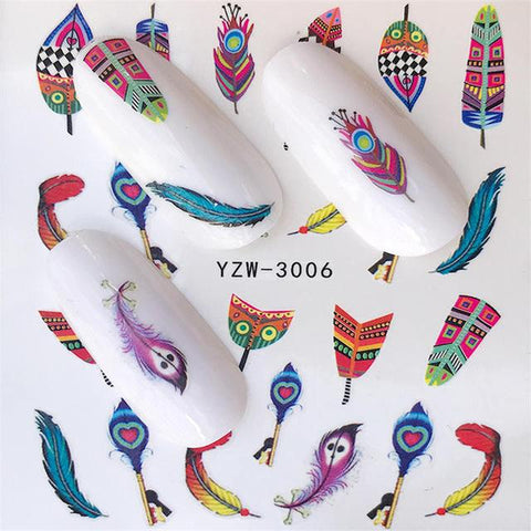 FWC 1 Sheets Nail Sticker Butterfly Summer Colorful Water Transfer  Nail Decorations UV Gel Polish DIY Decals