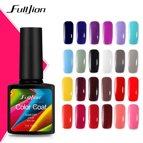 Fulljion 7.5ml Pure Nail Polish Glitter Color Coat Nail Gel Hybrid Varnishes Gel For Nails Art Lacquer LED UV Soak Off Lacquer