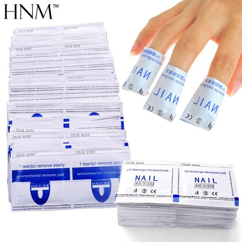 HNM 100pcs Nail Polish Remover Wraps Nail Degreaser Nail Art Cleaner Remover Manicure Tool Gel Nail Polish Easy Clean Wraps Bags