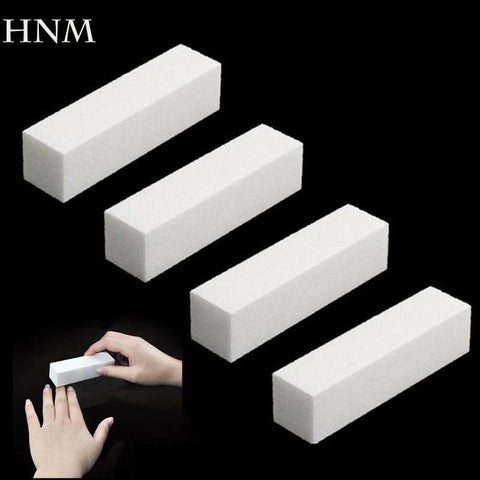 HNM 4Pcs/Lot Sanding Sponge Nail File Buffer Block for UV Gel Nail Polish DIY Nail Art Manicure Pedicure White Nail Buffers File