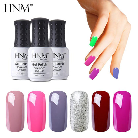 HNM 8ML 28 Colors Nail Polish LED Lamp Hybrid Varnish Lucky Lacquer Paint Gellak Soak Off Semi Permanent Gelpolish Base Top