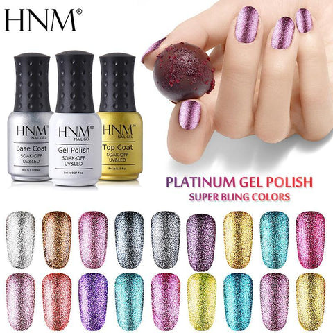 HNM Bling Platinum Nail Gel 8ML Glitter UV Gel Nail Polish LED Lamp Gel Lak Varnish Lacquer Semi Permanent Gelpolish Nail Primer