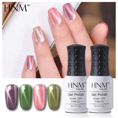 HNM Lucky Lacquer Enamel Jade Cat Eye UV Gel Nail Polish 8ml Cat Eye LED Lamp Gel Nail Polish Semi Permanent Soak Off Gelpolish